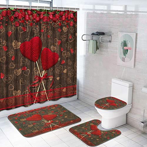 TAMOC Valentinstag Duschvorhang-Set mit Rutschfester Teppich, WC-Deckelbezug & Badematte, Rote Rose Liebe Herz Duschvorhang mit 12 Haken, Wasserdichter Rustikaler Holzduschvorhang für Badezimmer