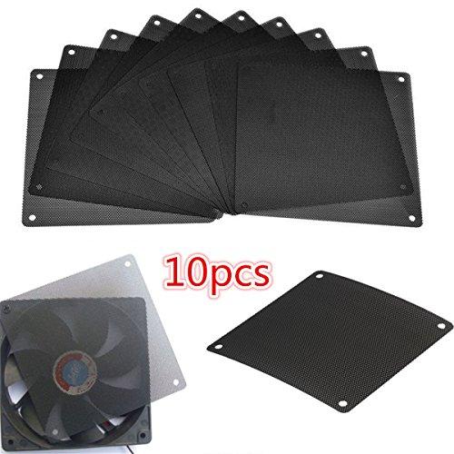 Mobestech 10pcs 120mm PVC Cooler Fan Dust Filter A Prueba de Polvo PC Cooler Filter Case Cover Malla de computadora (Negro)