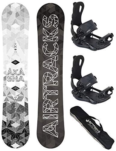 AIRTRACKS Snowboard Set - Tabla Akasha Wide 159CM - Fijaciones Master L - SB Bag/Nuevo