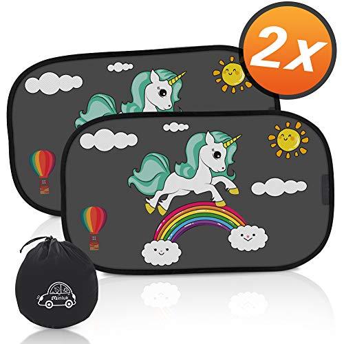 RIRGI Parasol Coche Bebe, Parasol Coche Infantil Lateral, Bloqueo de Rayos UV Nocivos, Parasoles Autoadhesivo para Proteger del Sol a Bebés y Mascotas, 2 Unidades 52x30.5CM (Negro)