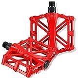Pedales de Bicicleta de Aluminio Pedales de Bicicleta Antideslizantes Pedales de Bicicleta de Montaña con 16 Clavos Antideslizantes Husillo de Acero al Boro de 9/ 16 Pulgadas para BMX/ MTB (Rojo)