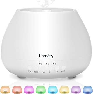 VicTsing Homasy 500ml Essential Oil Diffusers for Aromatherapy, Large Capacity for 20H Use, Quiet Aroma Humidifier with 8-Color Nightlight, Sleep Mode & 3 Timer Setting, Waterless Auto-Off-White
