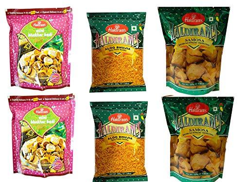 Haldiram's leckere indische Packung mit 6 authentischen Snacks- 2x Aloo Bhujia, 2x Mini Samosa, 2x Mini Bhakarbadi 1200g