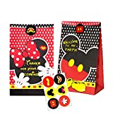 MALLMALL6 24Pcs Mickey Minnie Goodie Candy Treat Bags 24pcs Birthday Party Favor Paper Bags Mickey Themed Party Goodie Dessert Bags with Mickey Thank You Stickers for Kids