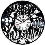 Peces de Acuario Vinilo Record Reloj de Pared Estilo Retro Reloj de Pared Silencioso Decoración del Hogar Arte Único Especial Accesorios para el Hogar Creativo