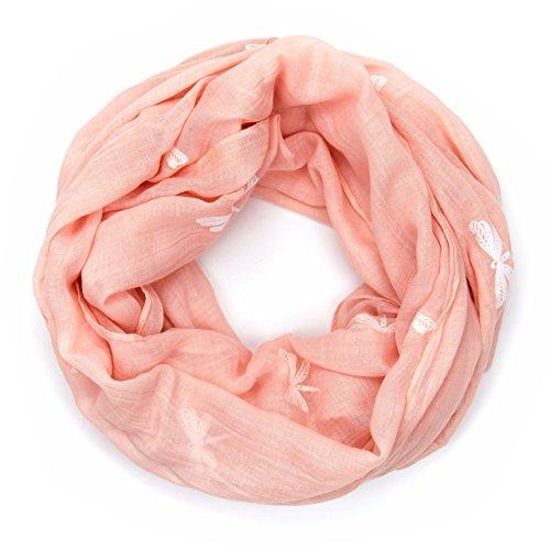 MANUMAR Loop-Schal für Damen | Hals-Tuch in lachs mit Libelle Motiv als perfektes Herbst Winter Accessoire | Schlauchschal | Damen-Schal | Rundschal | Geschenkidee für Frauen und Mädchen