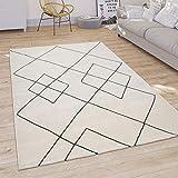 Alfombra Salón Motivo Moderno Escandinavo Rombos Pelo Corto, Color Claro Blanco, tamaño:160x230 cm