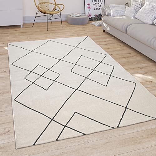 Paco Home Tapis Salon Moderne Motif Losanges Scandinave Poils Ras, Clair Blanc, Dimension:160x230 cm