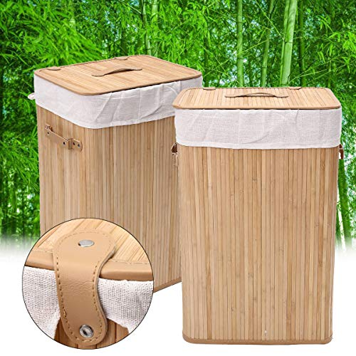 Bamboo Laundry Hamper Basket Wicker Clothes Storage Sorter Bin Organizer Lid Storage Baskets