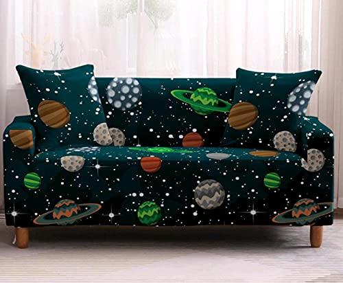 Protector de sofá con Planeta Estrellado Verde Estampado,Fundas de Sofá Elasticas de 2 Plazas,Poliéster Suave con Funda elástica,Antideslizante Protector Cubierta de Muebles