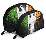 Bolsa de Maquillaje Bandera de Irlanda Eagle Shell portátil Organizador de artículos de tocador para Mujeres Vacaciones 2 Piezas