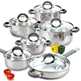 Cook N Home 02410 Stainless Steel 12-Piece Cookware Set, Silver