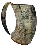 Bull Horn Odin Mug lucido Drinking Horn 8 pollici con incisione Tankard horn tazza per bir...