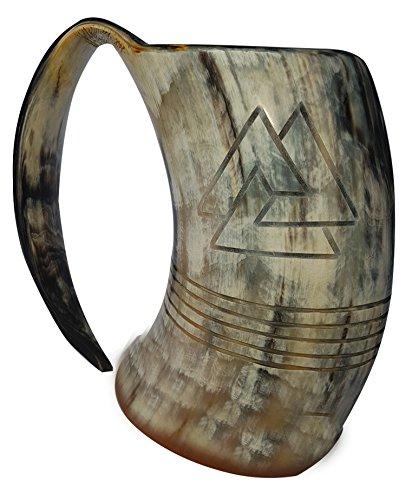 Jarra Odín XXL grabada: taza 100% de asta natural de 20cm (8pulg.) pulida de 1l (36onzas) para utilizar como jarra vikinga de cerveza.