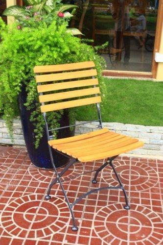 Vamundo Klappstuhl Gartenstuhl Kaffeehausstuhl 2er Set Stahl Eukalyptus FSC-Holz