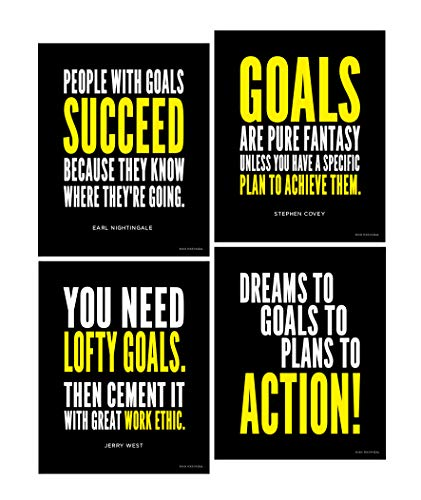 Goal and Work Ethic Inspirational Posters; Motivational Success, Determination and Goals Quotes, 8x10 Inch, Set of 4