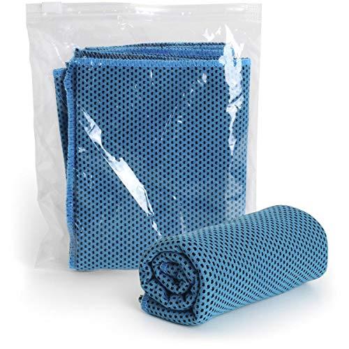 CampTeck U6874 (30cm x 100cm) Serviette Microfibre Cooling Towel avec Pochette Imperméable - pour Le Sport, Fitness, Yoga, Pilates, Gym, Camping, Course, Randonnée, Cyclisme, Voyage - Bleu