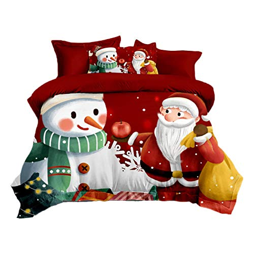 Xploit Santa Claus Quilt Duvet Cover and Pillowcase Bedding Bed Set - Washable Comfortable Christmas Bedding Duvet Encasement - with Quilt Cover and Pillow Cover(red, blue)