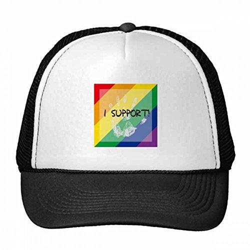 DIYthinker LGBT Rainbow Flag I Support Trucker Hat Baseballmütze Nylon Mütze Kühle Kind-Hut-Justierbare Kappe Geschenk Kinder