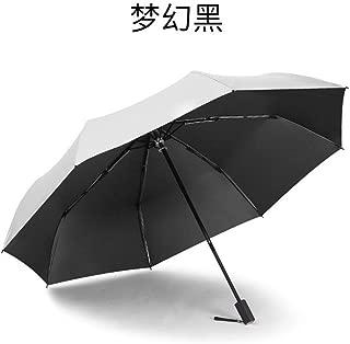 AUWANGAOFEI Titanium Silver Paste Hand Folded Parachute Small Sun Shade Fresh Pocket Umbrella Dual Barometer (Color : Black, Size : 21)