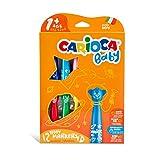Carioca Baby Teddy Markers |42816 - Rotuladores con Punta Redondeada Superlavables (Niños Bebés 12 Meses), 12 Colores