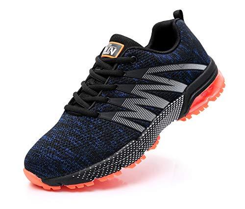 AZOOKEN Hombre Mujer Zapatillas de Gimnasia Running Zapatos Deportivos Aire Libre y Deporte Respirable Sneakers para(8995 BlueOrange39)