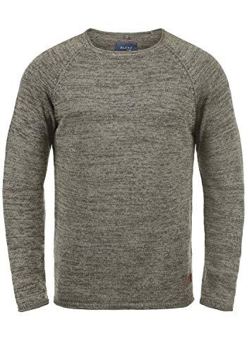 Blend Dan Herren Strickpullover Feinstrick Pullover Mit Rundhals Und Melierung, Größe:XXL, Farbe:Zink Mix/Black (71526)