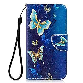 MOVOYEE Cover for Samsung J7 Case for Women,Samsung Galaxy J7 Perx Wallet Case,Flip Leather Galaxy J7 Cell Phone Case Card Slot Samsung Galaxy J7 Prime Case Samsung J7 2017/J7 Sky Pro-Blue Butterfly