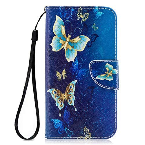 Cover for Samsung J7 Case for Women, Samsung Galaxy J7 Perx Wallet Case,Folio Flip PU Leather Galaxy J7 Cell Phone Case Card Slot Samsung Galaxy J7 Prime Case Samsung J7 2017/J7 Sky Pro-Blue Butterfly