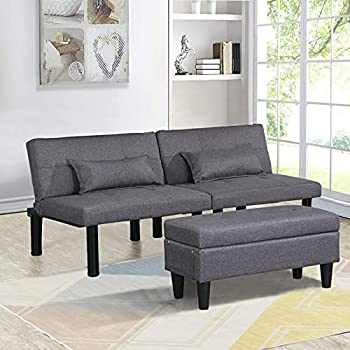 Futon Sofa Bed Couch and Sleeper with Storage Ottoman Footstool or Coffee Table & 2 Lumbar Pillows Tufted Adjustable Convertible Futon Sofa Bed Sleeper Couch Loveseat Metal Legs Small Linen  Gray