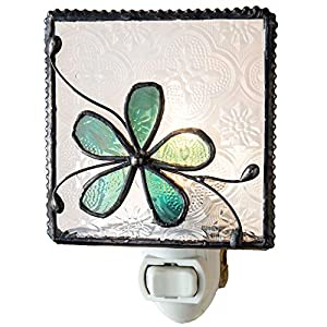 J Devlin NTL 129 Series Stained Glass Flower Night Light – Available in Aqua Blue or Pink