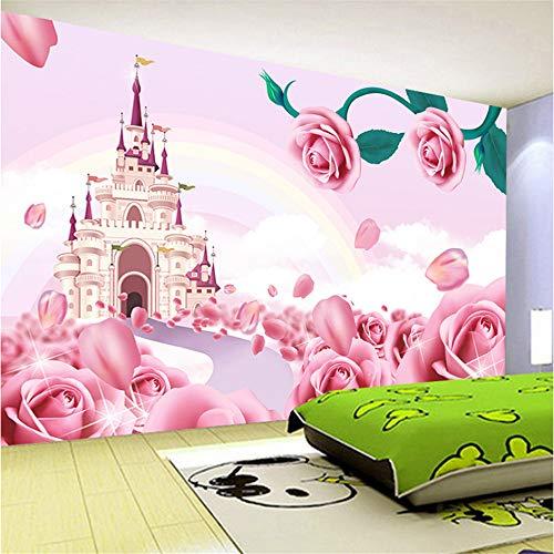 Guyuell Anpassen Große Vlies Wandbild Tapete 3D Cartoon Prinzessin Schloss Fototapete Kinderzimmer Dekor Stroh Textur Wandbilder-120Cmx100Cm