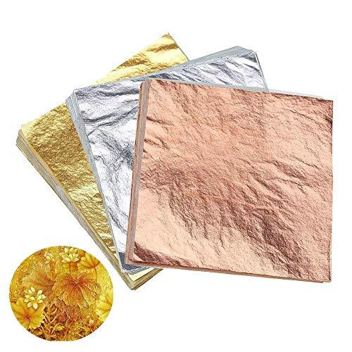 Koogel 300 Pcs Imitation Gold Leaf, 5.5 Inch Gold Leaf Gilding Gilding Foil Imitation Gold for Painting Arts Crafts DIY Furniture Decoration