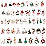 Encanto navideño, 48 piezas Navidad Colgantes, Christmas Pendant Charms Aleación Navidad Adornos Encantos accesorios de artesanía para DIY collar pulsera joyería de Navidad