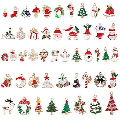 48 pcs Craft Supplies Mixed Christmas Snowflake Snowman Enamel Charms Pendants Golden Plated Pendants Findings for Jewellery Making Accessory for DIY Necklace Bracelet