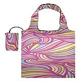 Bolsa de herramientas de lona, hermoso colorido, lindo, malvavisco, plegable, para comestibles, bolso de hombro, poliéster, bolsas de compras reutilizables, lavables, duraderas y ligeras