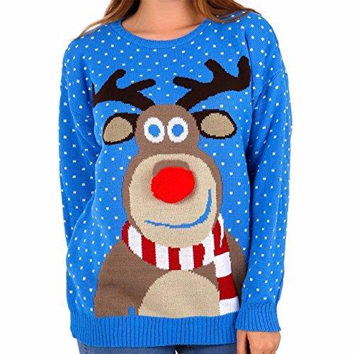MyMixTrendz HHerren Weihnachten gestricktes Weihnachts-Rentier für, zum Pub-Pullover Größe S-2XL (3XL, 3D Pom Pom Blue)