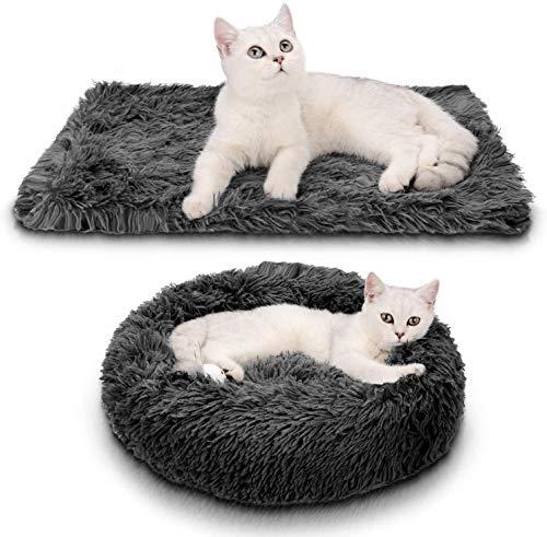 Bett für Katze,Hundekissen Flauschig Katzenbett Set mit Decke,Katzenbett Warm Weich Deluxes Schlafen Bett zum Katzen und Kleine Hunde Rutschfestes Waschbar (50cm, Dunkelgrau)