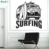 zhuziji Coche Cargado con Tablas de Surf Etiqueta de la Pared Emocional Decoración del hogar Deportes de Surf Nuevo diseño Arte Calcomanías extraíbles Vinilo Negro L 71x70cm