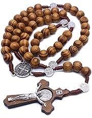 BELTI Moda Hecha a Mano Cuentas Redondas Rosario católico Cruz Cuentas de Madera religiosas Hombres Collar Encanto Regalo