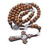 Chou 1 rosario católico con cruz de madera, pulsera de madera rosario