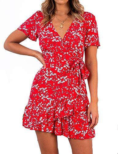 Relipop Summer Women Short Sleeve Print Dress V Neck Casual Short Dresses (X-Large, Type 2)