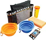 Simple Pet 6 Piece Pet Dog Travel kit Includes Carry All, Poop Pouch Caddy, Micro Fiber Towel, Collapsible Bowls, Water Bottle Dog Park Essential kit