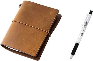 Midori Traveler's Notebook - Starter Kit, Camel (Passport Size)+Daidai Original Ballpoint Pen Made from Zebra