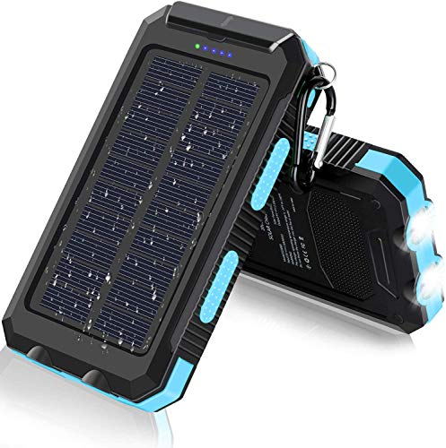 Solar Charger, 20000mAh Portable Outdoor Waterproof Solar Power Bank, Camping External Backup Battery Pack Dual 5V USB Ports Output, 2 Led Light Flashlight with Compass (Blue)