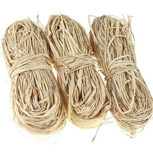 Creatrill Natural Raffia Paper Ribbon, 3 x40g Paper Raffia Ribbon Perfect for Florist Bouquets Weaving Decoration Christmas Raffia Gift Wrap