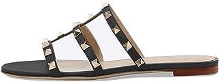 VOCOSI Women's Flat Heel Sandals with Rivets Slide Slipper Dress for Casual Summer