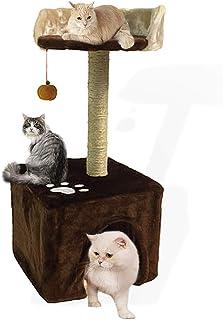 BUBM キャットタワー 小型 猫タワー 据え置き型 爪とぎ 麻ひも キャットリビングタワー 全麻縄巻き おもちゃつき 安定 コーヒー色 幅30×奥行30×高さ67cm