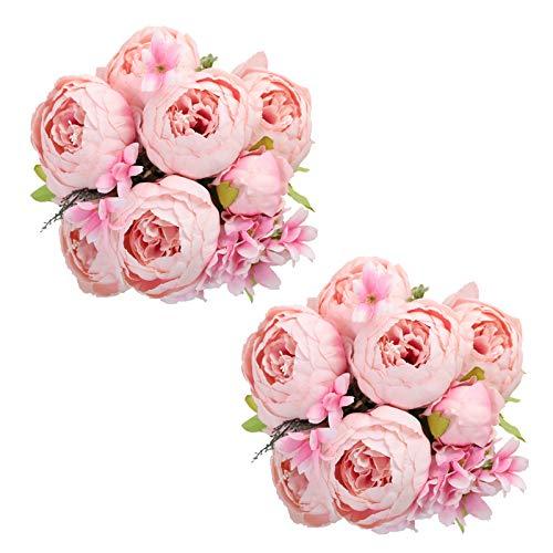 Tifuly Konstgjorda pion buketter, realistiska sidenkopioner vintage blommor bukett för hem bröllop kontor fest dekoration, blomsterarrangemang, mittpunkter, paket med 2 (rosa)