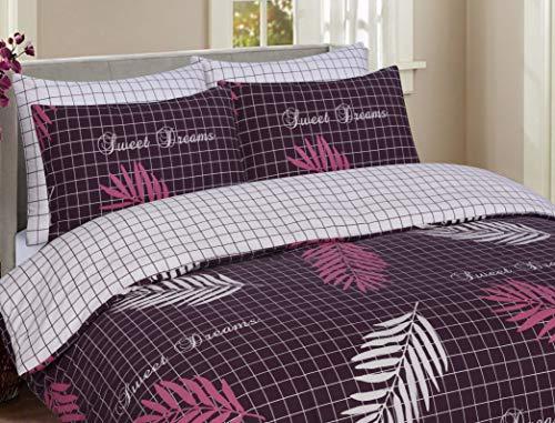 Divine Textiles 100% Pure Cotton Reversible Printed Duvet Quilt Cover Set, Sweet Dreams Aubergine - Double